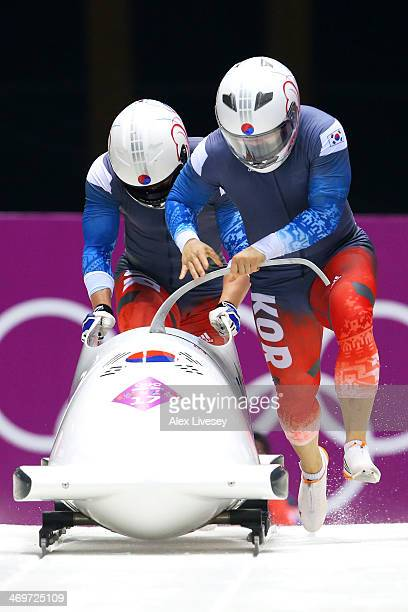 Pilot Yunjong Won and Youngwoo Seo of Korea team 1 make a run during the Men's TwoMan Bobsleigh heats on Day 9 of the Sochi 2014 Winter Olympics at...