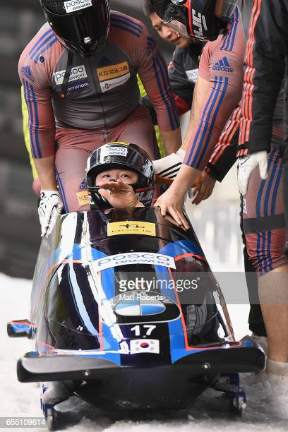Pilot Yunjong Won of Korea competes with Jinsu Kim Gyeongmin Lee and Jeahan Oh in the 4man Bobsleigh during the BMW IBSF World Cup Bob Skeleton...