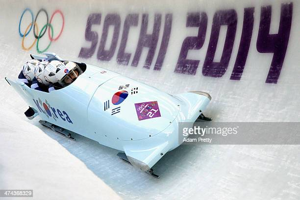 Pilot Yunjong Won Youngjin Suk Junglin Jun and Youngwoo Seo of Korea team 1 make a run during the Men's FourMan Bobsleigh on Day 16 of the Sochi 2014...