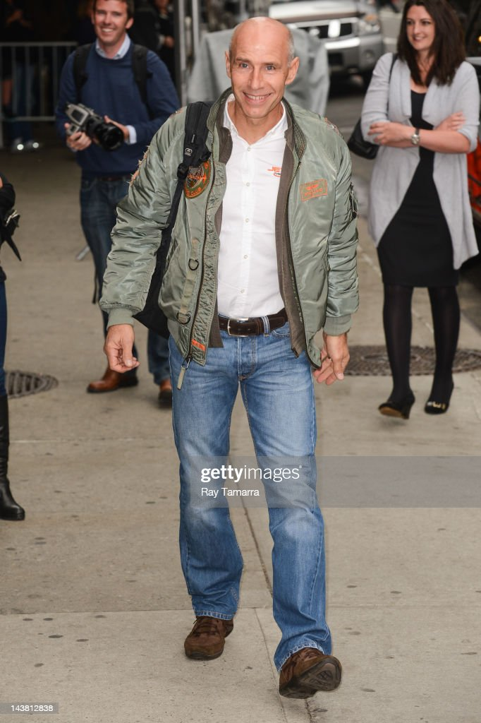 Pilot Yves 'Jetman' Rossy enters the 'Late Show With David Letterman' taping at the Ed Sullivan Theater on May 3, 2012 in New York City.