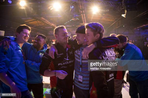 Pilots are celebrating at Station Berlin during the DCL Drone Champions League Championship Finals in Berlin on December 02 2017 in Berlin Germany