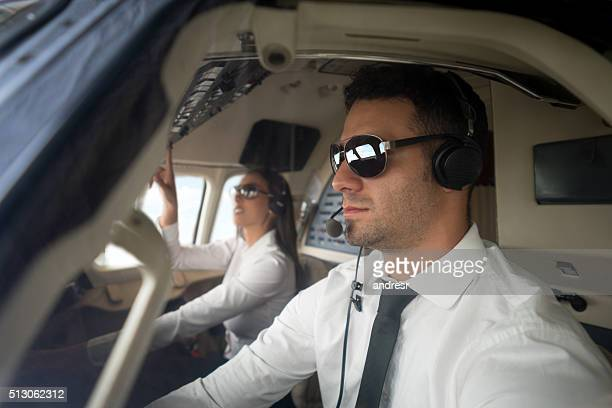 Pilots flying a helicopter