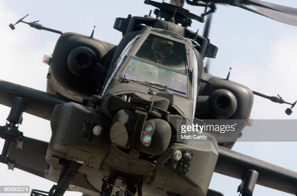 Pilots from the Army Air Corps fly a Apache attack helicopter during a predeployment training exercise at RAF Lyneham on April 16 2008 in Wiltshire...