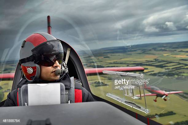 Pilots from The Royal Jordanian Falcons fly over Edinburgh ahead of taking part in Scotlands National Airshow on July 22 2015 in Edinburgh Scotland...