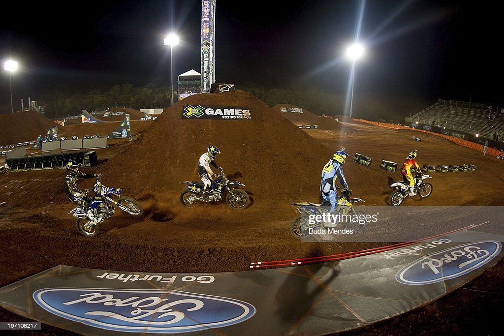 Pilots in action during Moto X Step Up at the X Games on April 19, 2013 in Foz do Iguacu, Brazil.