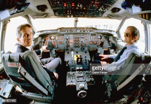 Pilots in the cockpit travel from Madrid to Barcelona Spain