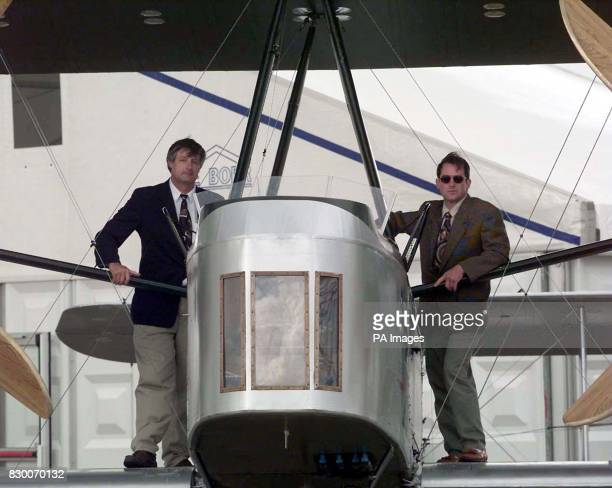 Pilots John LaNoue and Mark Rebholz with the replica version of a Vickers Vimy bomber plane which is set to reenact an historic Britain to South...