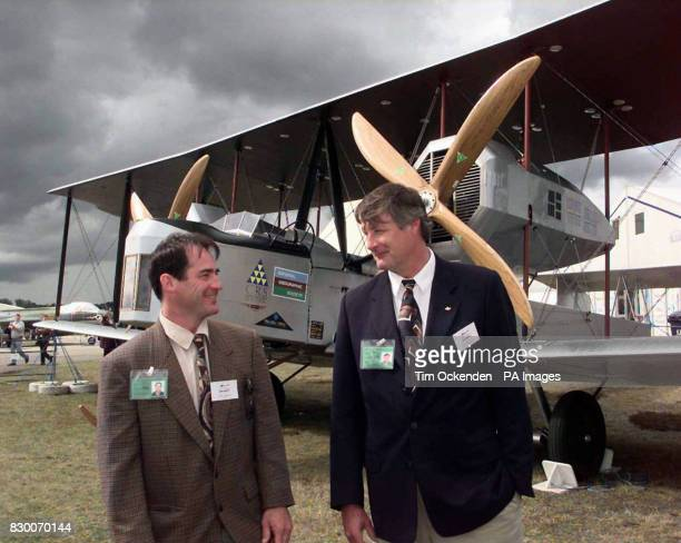 Pilots John LaNoue left and Mark Rebholz with the replica version of a Vickers Vimy bomber plane which is set to reenact an historic Britain to South...