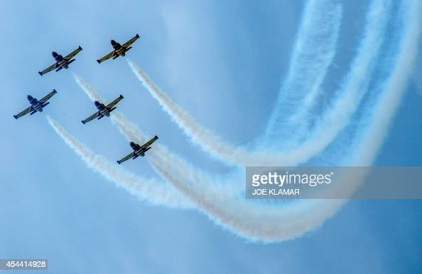 Pilots on 5 x Aero L39 Albatros aircrafts of Baltic Bees Jet Team demonstrate their skills at the Slovak International Air Fest SIAF 2014 at the...