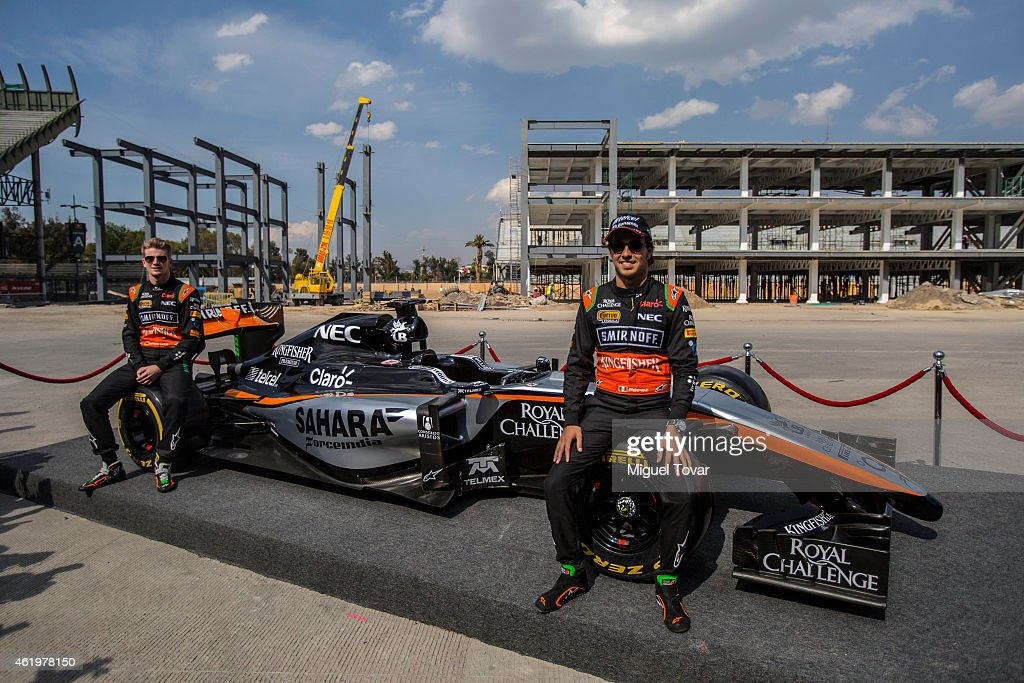 F1 pilots Sergio Perez and teammate Niko Hulkenberg pose for pictures during a walk through the Hermanos Rodriguez Racing Circuit Facilities on January 22, 2015 in Mexico City, Mexico. The Mexico's Grand Prix will take place next November 1st, the Hermanos Rodriguez circuit is under a refurbishment to receive the Formula 1 after 23 years of absence.
