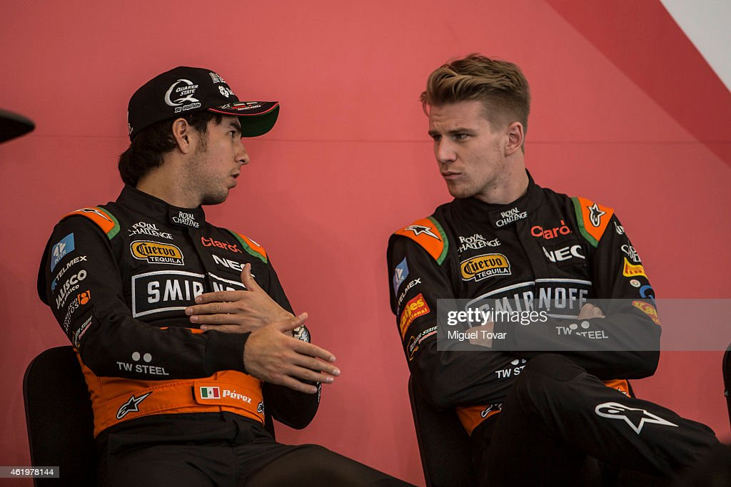 F1 pilots Sergio Perez and teammate Niko Hulkenberg talks during a press conference at the Hermanos Rodriguez Racing Circuit Facilities on January 22, 2015 in Mexico City, Mexico. The Mexico's Grand Prix will take place next November 1st, the Hermanos Rodriguez circuit is under a refurbishment to receive the Formula 1 after 23 years of absence.