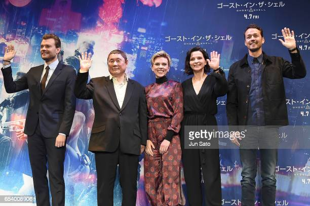 Pilou Asbaek Takeshi Kitano Scarlett Johansson Juliette Binoche and Rupert Sanders attend the official press conference ahead of the World Premiere...