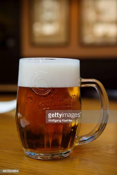 Pilsner Urquell beer served in a restaurant in Prague Czech Republic