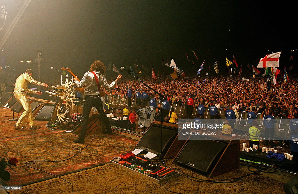 US band The Killers perform on the Pyramid stage at Glastonbury music festival in Pilton Somerset 23 June 2007 177500 people are expected to attend...