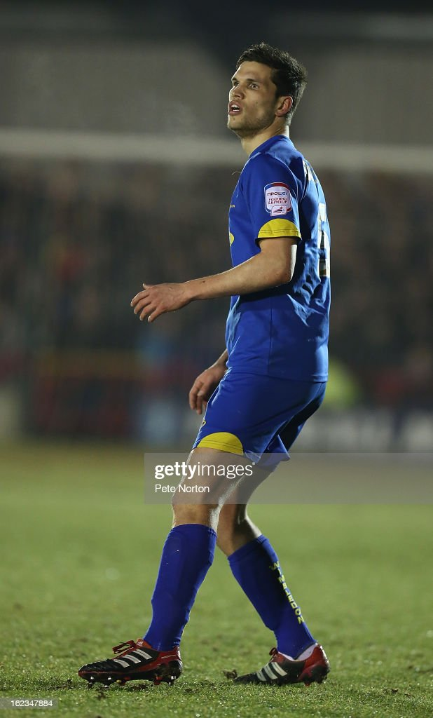 Pim Balkestein of AFC Wimbledon in action during the npower League Two match between AFC Wimbledon and Northampton Town at The Cherry Red Records Stadium on February 19, 2013 in Kingston upon Thames, England.