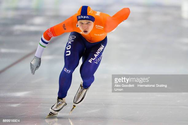 Pim Schipper of the Netherlands competes in the men's 1000 meter final during day 3 of the ISU World Cup Speed Skating event on December 10 2017 in...