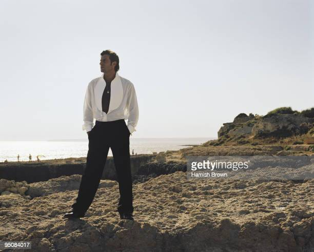 Footballer Luis Figo poses for a portrait shoot in Lisbon Portugal