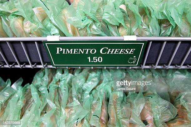 Pimento Cheese sandwiches are sold at a concession stand during a practice round prior to the start of the 2012 Masters Tournament at Augusta...
