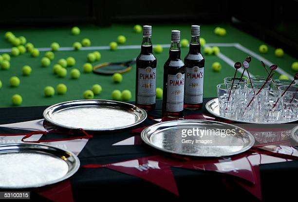 Pimms drinks are prepared before guests arrive at the Sony Ericsson WTA Tour and ATP Wimbledon Player Party at the Hard Rock Cafe 150 Old Park Lane...
