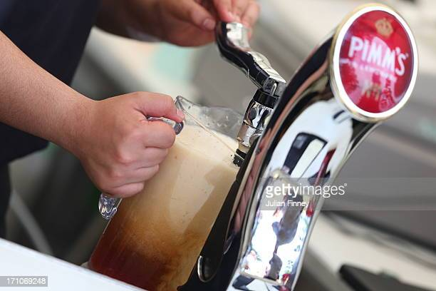 Pimms is poured during The Boodles Tennis Event at Stoke Park on June 21 2013 in Stoke Poges England