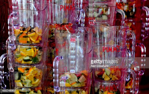 Pimms jugs at the ready at Doncaster racecourse on September 11 2014 in Doncaster England