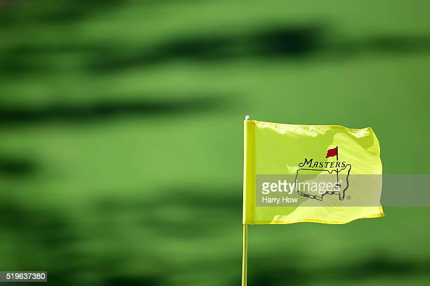 A pin flag is displayed during the first round of the 2016 Masters Tournament at Augusta National Golf Club on April 7 2016 in Augusta Georgia