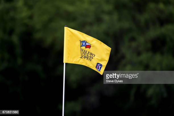 A pin flag is seen during the first round of the Valero Texas Open at TPC San Antonio ATT Oaks Course on April 20 2017 in San Antonio Texas