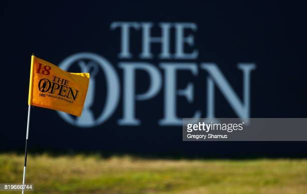 A pin flag is seen on the 18th green during the first round of the 146th Open Championship at Royal Birkdale on July 20 2017 in Southport England