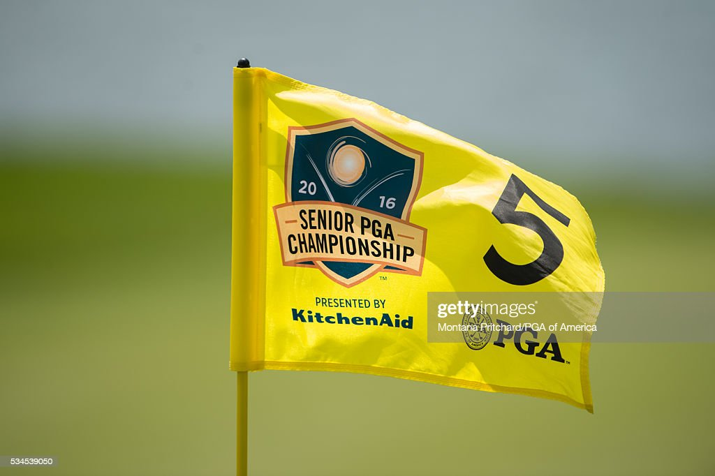 Pin flag on the fifth hole during the first round for the 77th Senior PGA Championship presented by KitchenAid held at Harbor Shores Golf Club on May 26, 2016 in Benton Harbor, Michigan.
