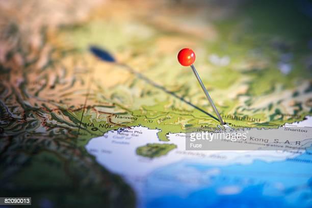 Pin Marking Hong Kong on Map