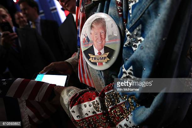 A pin of Republican presidential nominee Donald Trump on Boxing promoter Don King's jacket ahead of the Presidential Debate at Hofstra University on...