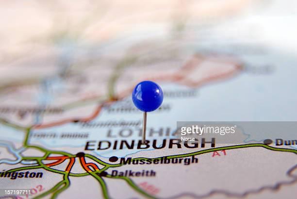 A pin on a paper Map of Edinburgh