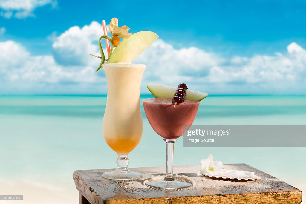 Pina colada and strawberry margarita : Stock Photo