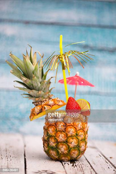 Pina colada in a pineapple