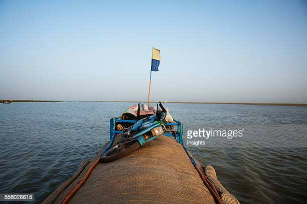 Pinasse on Lake Debo formed by the seasonal flooding of the Niger River Mali
