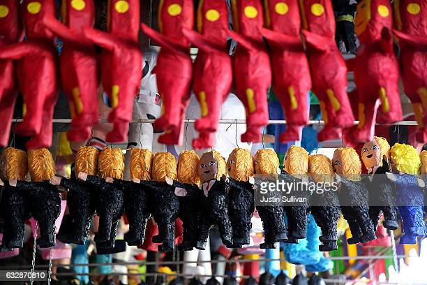 Pinatas that resemble US President Donald Trump are displayed in a store at Mercado Hidalgo on January 27 2017 in Tijuana Mexico US President Donald...