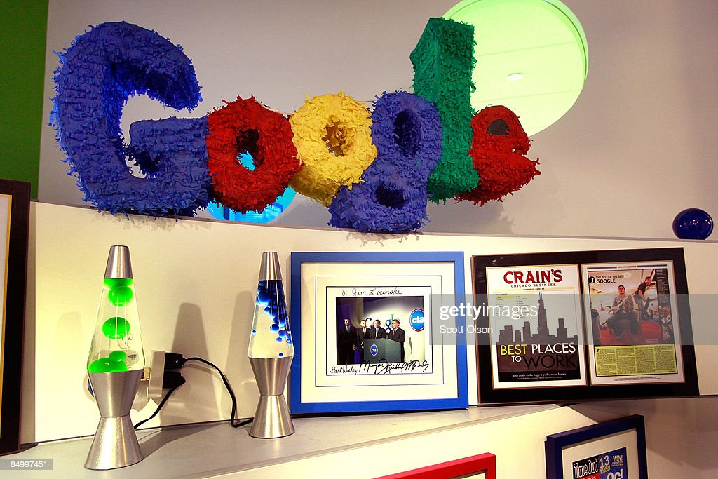 A pinata-style logo hangs in the Google Chicago office February 23, 2009 in Chicago, Illinois. Chicago Mayor Richard M. Daley launched his YouTube channel during a press conference today at the office.