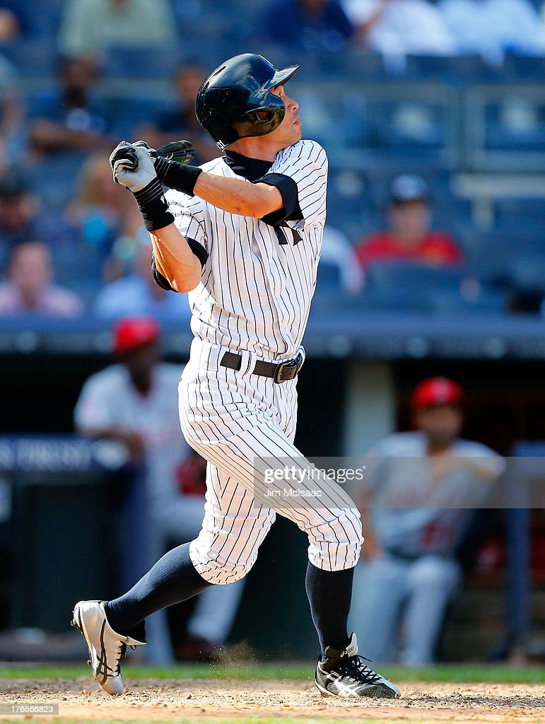 Pinch hitter <a gi-track='captionPersonalityLinkClicked' href=/galleries/search?phrase=Ichiro+Suzuki&family=editorial&specificpeople=201556 ng-click='$event.stopPropagation()'>Ichiro Suzuki</a> #31 of the New York Yankees pops out in the ninth inning against the Los Angeles Angels of Anaheim at Yankee Stadium on August 15, 2013 in the Bronx borough of New York City.