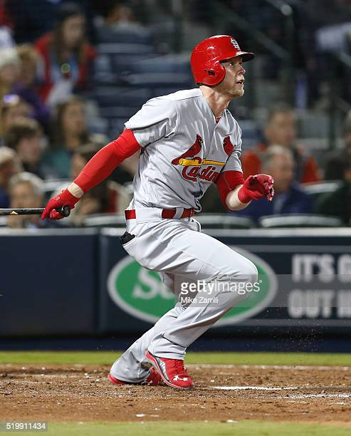 Pinch hitter Jeremy Hazelbaker of the St Louis Cardinals hits a game tying home run in the seventh inning during the game against the Atlanta Braves...