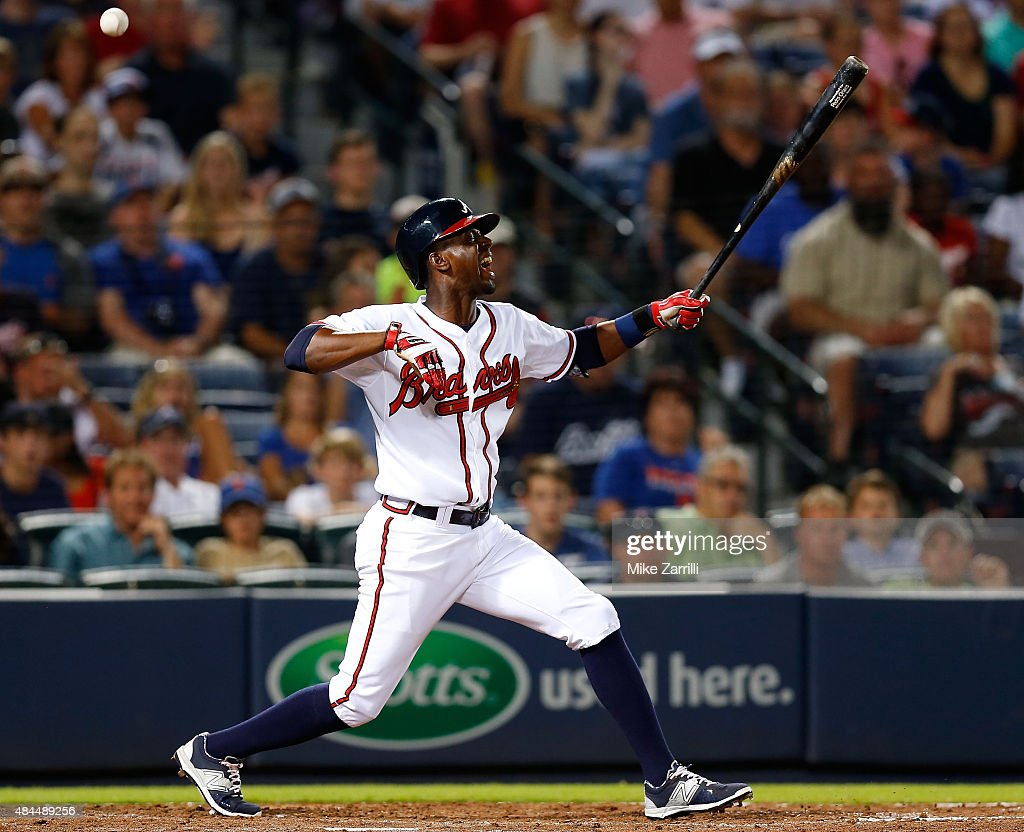 Pinch hitter <a gi-track='captionPersonalityLinkClicked' href=/galleries/search?phrase=Pedro+Ciriaco&family=editorial&specificpeople=5718591 ng-click='$event.stopPropagation()'>Pedro Ciriaco</a> #19 of the Atlanta Braves reacts after a pitch hits the bat and his hands during the game against the New York Mets at Turner Field on June 19, 2015 in Atlanta, Georgia.