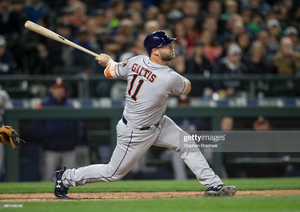 Pinch-hitter Carlos Correa #1 of the Houston Astros hits a three-run double off of relief pitcher James Pazos #47 of the Seattle Mariners during the sixth inning of a game at Safeco Field on April 11, 2017 in Seattle, Washington.