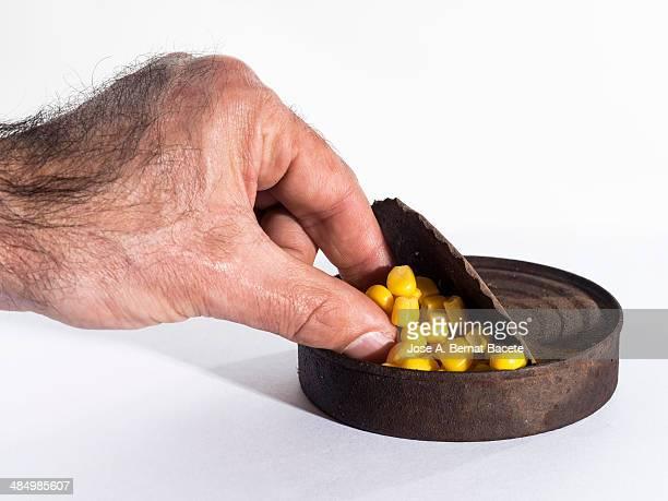 Pinching fingers canned sweet corn