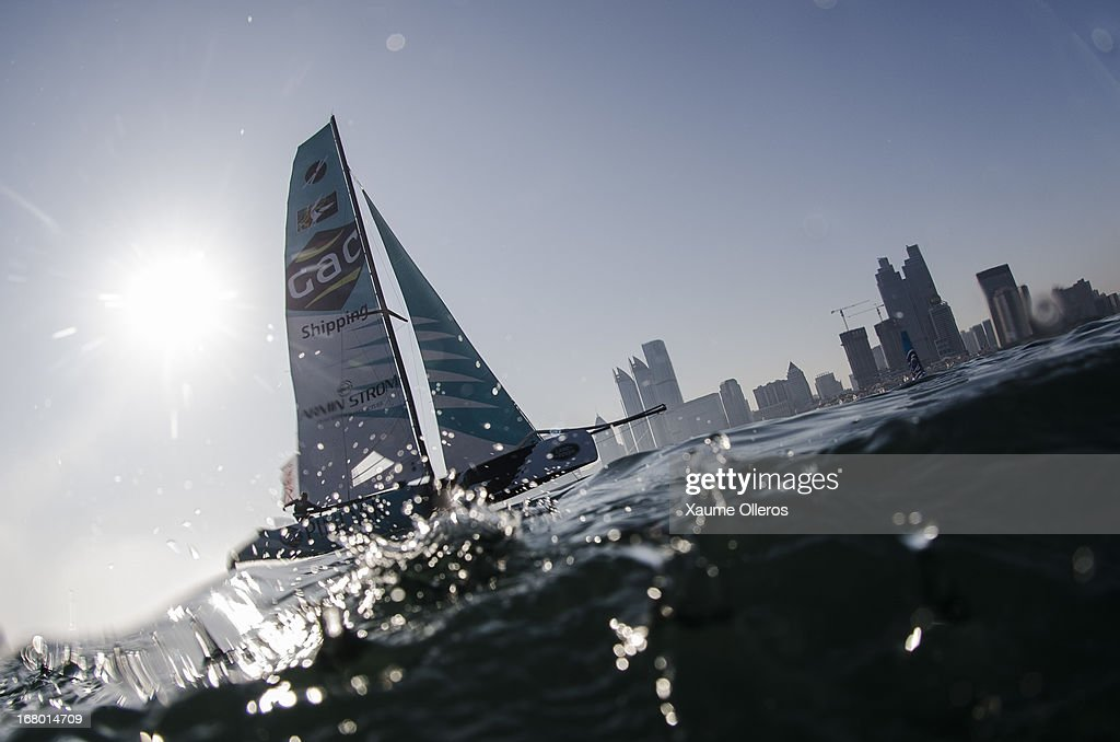 Pindar in action during day three of the Extreme Sailing Series on May 4, 2013 in Qingdao, China.