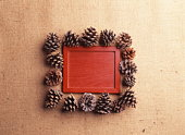 Pine cones around a red piece of wood