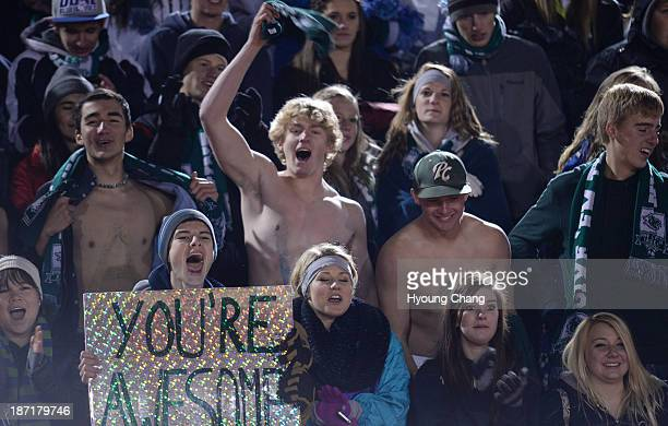 Pine Creek High School students celebrate winning of 5A state semifinal boy's soccer game against Boulder High School at Legacy Stadium Aurora...