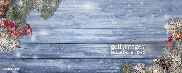 Pine Needles On Wooden Table