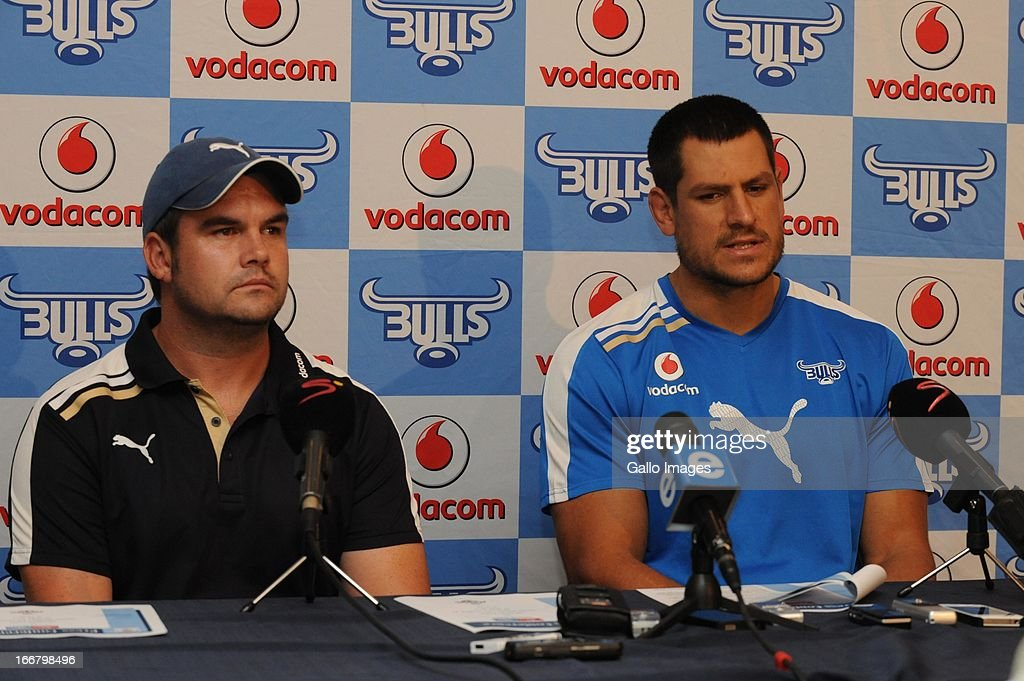Pine Pienaar (Ass Coach) and Pierre Spies during the Vodacom Bulls training session and press conference at Loftus Versfeld on April 17, 2013 in Pretoria, South Africa.