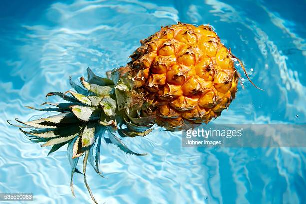 Pineapple floating on water