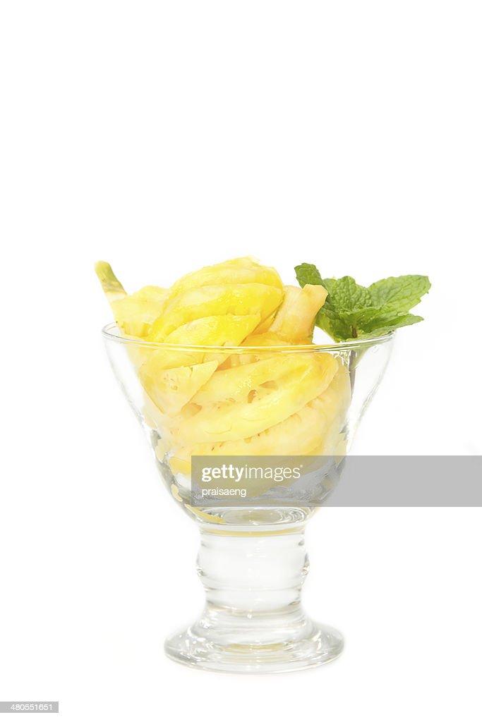 Pineapple slice in the glass : Stock Photo