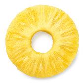 Pineapple slice isolated. Pineapple ring on white.